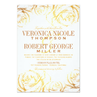 Elegant Romantic Roses Floral Wedding Invitation