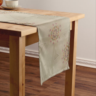 Elegant Romantic Rustic Pastel Kaleidoscope Flower Short Table Runner