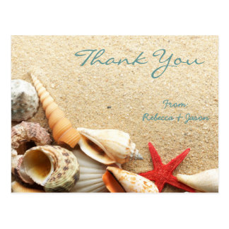 elegant romantic seashells beach wedding thank you postcard