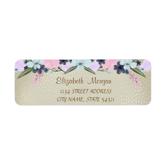 Elegant  Romantic,Watercolor Flowers Address Label