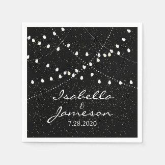 Elegant Romantic Wedding Twinkle String Lights Disposable Napkin