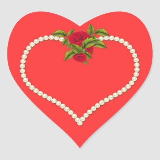 Elegant Romantic White Pearl Heart with Red Roses Heart Sticker