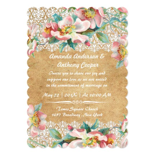 Elegant romantic wild roses and lace card
