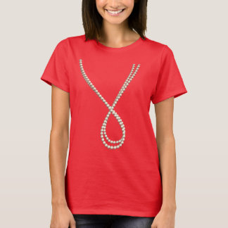 Elegant Rope of Pearls: Fun Fake Costume T-Shirt