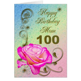 Elegant rose 100th birthday card for Mom