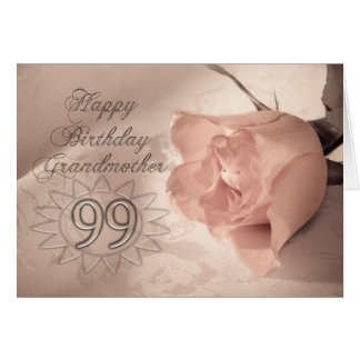 Elegant rose 99th birthday card for Grandmother