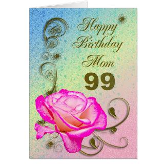 Elegant rose 99th birthday card for Mom