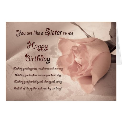 Elegant rose birthday card for like a sister to me | Zazzle