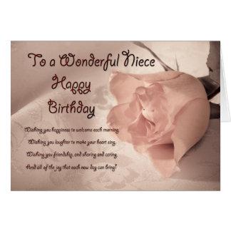 Elegant rose birthday card for niece