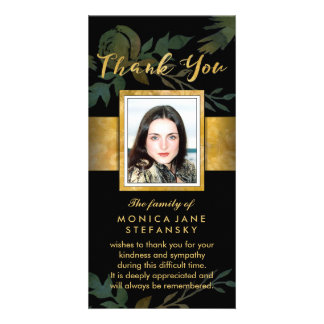 Elegant Rose Black & Gold Photo Floral Thank You Personalized Photo Card