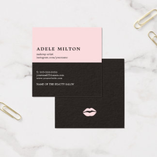 Elegant Rose Black Lips Makeup Artist Square Business Card