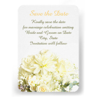 Elegant Rose Bouquet Save the date Personalized Invites