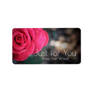 Elegant Rose Custom Just for You Gift Labels