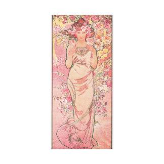 Elegant Rose Decorative Art Nouveau Stretched Canvas Print
