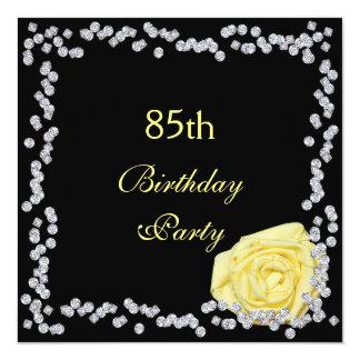 "Elegant Rose & Diamonds 85th Birthday 5.25"" Square Invitation Card"