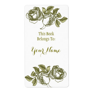 Elegant Rose Etching White Golden Bookpate Label