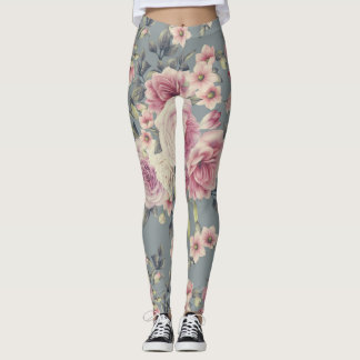 Elegant Rose Floral Print Leggings