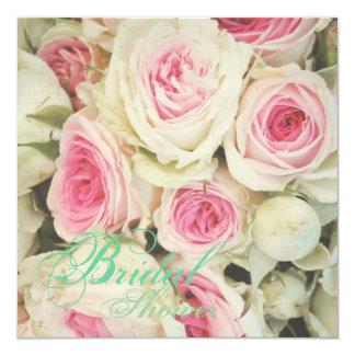 Elegant Rose Floral Vintage Bridal Shower Invites