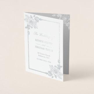 Elegant Rose Frame Silver Foil Wedding Program Foil Card