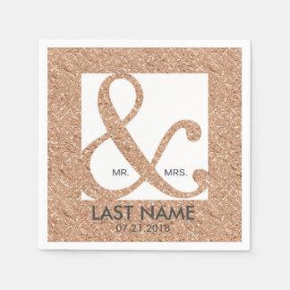 Elegant Rose Gold Ampersand Last Name Napkins Paper Napkin
