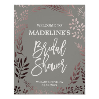 Elegant Rose Gold and Gray Bridal Shower Welcome Poster