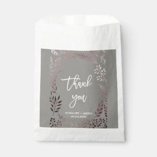 Elegant Rose Gold and Gray   Leafy Frame Wedding Favour Bag