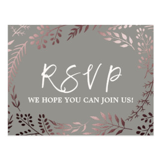 Elegant Rose Gold and Gray Song Request RSVP Postcard