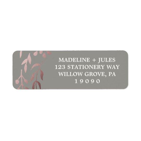 Elegant Rose Gold and Grey | Leafy Frame Wedding Return Address Label