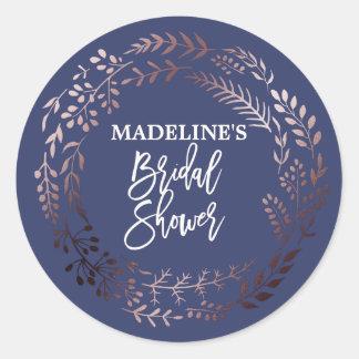 Elegant Rose Gold and Navy Bridal Shower Classic Round Sticker