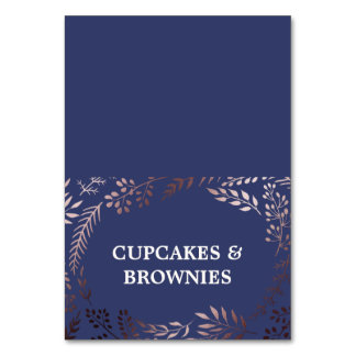 Elegant Rose Gold and Navy Food Tent Cards