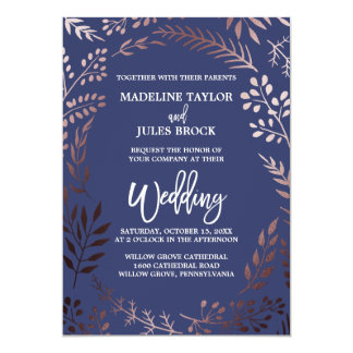 Elegant Rose Gold and Navy | Leafy Frame Wedding Card
