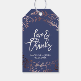 """Elegant Rose Gold and Navy """"Love & Thanks"""" Wedding Gift Tags"""