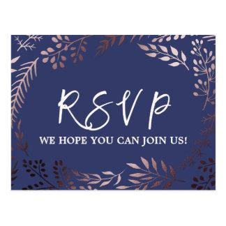 Elegant Rose Gold and Navy Menu Choice RSVP Postcard