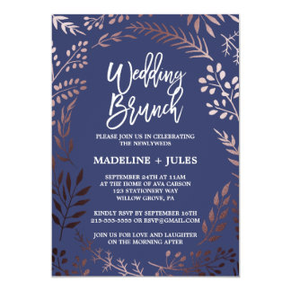 Elegant Rose Gold and Navy Wedding Brunch Card