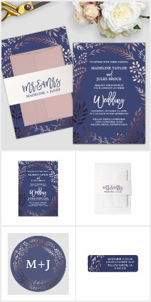 Elegant Rose Gold and Navy Wedding Collection