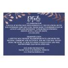 Elegant Rose Gold and Navy Wedding Details Card