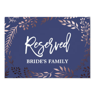 "Elegant Rose Gold and Navy Wedding ""Reserved"" Sign Card"