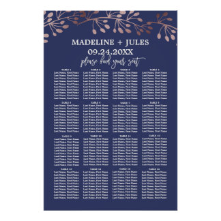 Elegant Rose Gold and Navy Wedding Seating Chart Poster