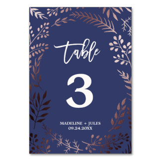 Elegant Rose Gold and Navy Wedding Table Number