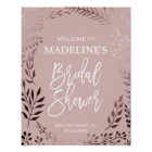 Elegant Rose Gold and Pink Bridal Shower Welcome Poster