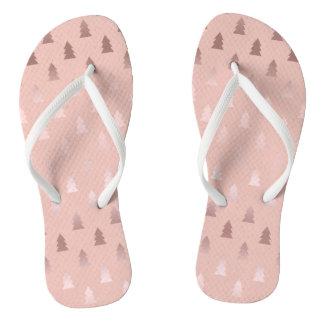 Elegant rose gold and pink Christmas tree pattern Flip Flops