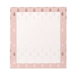 Elegant rose gold and pink Christmas tree pattern Notepad