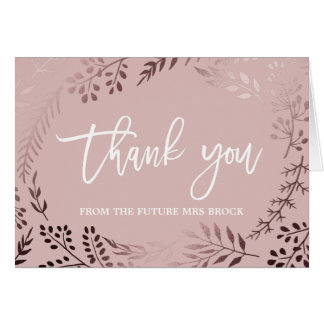 Elegant Rose Gold and Pink Thank you Card