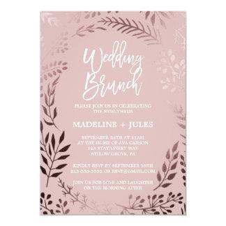 Elegant Rose Gold and Pink Wedding Brunch Card