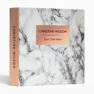 elegant rose gold and  white marble stone vinyl binders