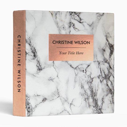 elegant rose gold and  white marble stone vinyl binders