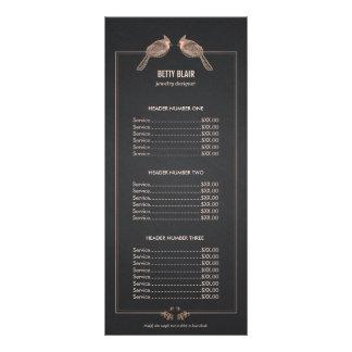 Elegant Rose Gold Birds Chalkboard Price List Menu