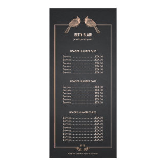Elegant Rose Gold Birds Chalkboard Price List Menu Rack Card Template