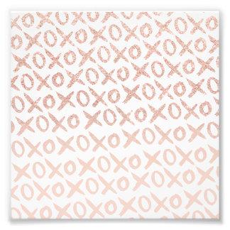 Elegant rose gold blush pink love xoxo typography photo art