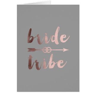 elegant rose gold bride tribe arrow wedding rings card